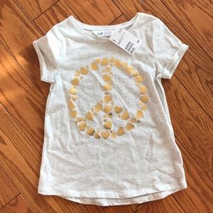 NEW WITH TAGS! size 6 girls h&m peace sign shirt